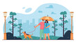Couple walking with dog in bad, rainy weather. Man and woman standing under umbrella in park flat vector illustration. City and buildings in background. Raining, downpour, cloudy day concept