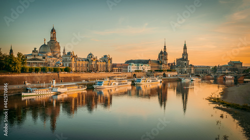 the old town of dresden while sunset