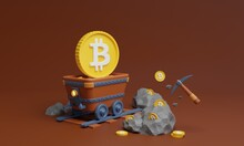 Minecart Full Of Bitcoins With Pickaxe And Rocks Bitcoin Mining 3d Illustration