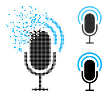 Dissipated Pixelated Microphone Icon With Halftone Version. Vector Destruction Effect For Microphone Pictogram. Pixelated Disintegration Effect For Microphone Reproduces Movement Of Virtual Matter.