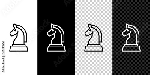 Fotografiet Set line Chess icon isolated on black and white, transparent background