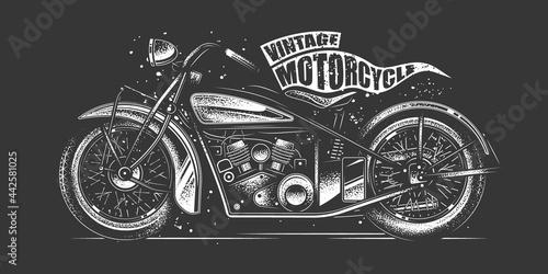 Slika na platnu Original monochrome vector illustration in retro style