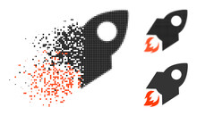 Dispersed Pixelated Rocket Flight Icon With Halftone Version. Vector Destruction Effect For Rocket Flight Icon. Pixelated Destruction Process For Rocket Flight Gives Motion Of Virtual Concepts.