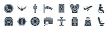 Airport Terminal Filled Icons. Glyph Vector Icons Such As Airplane Seat, Airpot Cupboard, Luggage Inspection, Hangar, Departures Flights, Airport Tower, Security Control, Plane Front View Sign
