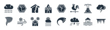 Meteorology Filled Icons. Glyph Vector Icons Such As Icicle, Thunder Cloud, Weather, Twister, Erupting Volcano, Broken House, Farenheit, Celsius Sign Isolated On White Background.