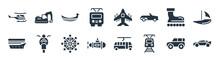 Transport Aytan Filled Icons. Glyph Vector Icons Such As Sports Car, Tramway, Small Submarine, Cruiser, Inline Skates, Gondola, Army Airplane, Excavators Sign Isolated On White Background.