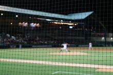 Selective Focus On Baseball Foul Ball Safety Netting.