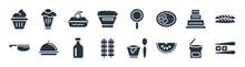 Bistro And Restaurant Filled Icons. Glyph Vector Icons Such As Sushi Piece, Watermellon Slice, Two Brochettes, Butcher Knife, Three Levels Cake, Food Box, Frying Pan From Top, Cupcake With Cherry
