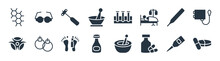 Medical Filled Icons. Glyph Vector Icons Such As Pharmacy, Pills Jar, Poison Bottle With A Skull, Biological Warning, Thermometer, Medical Hammer Tool, Medical Samples In Test Tubes Couple,