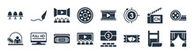Cinema Filled Icons. Glyph Vector Icons Such As Cinema Curtains, Theater Ticket, Cinema Audience, Box Office, Cartoon Network, Movie Theatre, Movie Film, Author Sign Isolated On White Background.