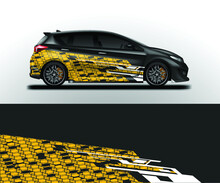 Decal Car Wrap Design Vector. Graphic Abstract Stripe Racing Background For Vehicle, Race Car, Rally, Drift Ready Print Eps 10