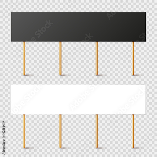 Fototapeta Blank black and white protest signs with wooden holder