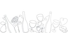Horizontal Seamless  Pattern With Wine. Border With Continuous Line Drawing  Bottles, Glasses,Olives, Fruits And Cheese . Vector Background.