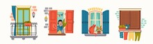 Various Windows. Closed Wooden Shutters, Flowers, Clothes Dryer, Balcony, Lady, Cat On Windowsill. House Exterior. Hand Drawn Colored Vector Illustrations. All Elements Are Isolated