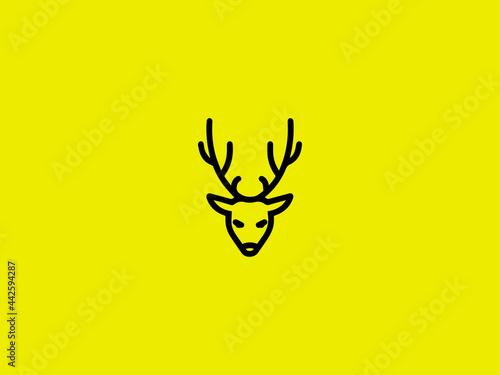 outline deer line art logo vector icon deer head profile silhouette logo Fototapet