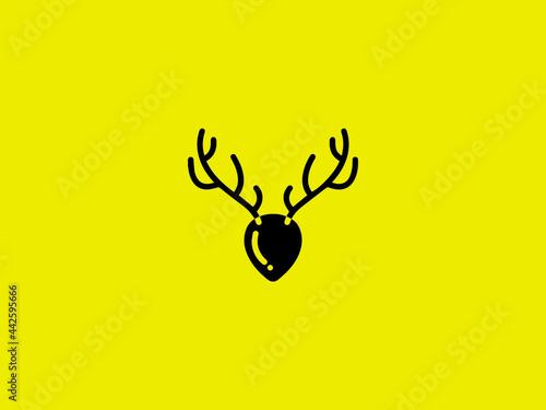 deer logo designs inspirations  deer line art logo vector icon Fototapeta