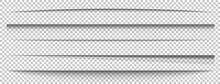 Paper Shadows Set On Long Banner. Divider Effect On Transparent Background. Frame Page. Website Edge. Border Blank. Box Shadow. Label Shape. Shade Tape. Realistic Light Effect. Vector Illustration