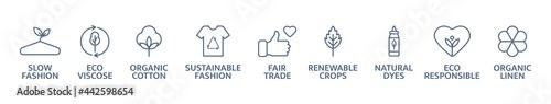 Fototapeta Sustainable clothes line icon set