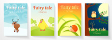Cover For Fairy Tale Book. Illustration With Funny Animals: Elk On Snow, Duckling In Meadow, Little Snail On Blade Of Grass, Owl In Night Forest. Cartoon Pictures For Kids, Children, Baby
