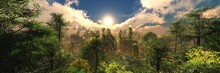 Beautiful Forest At Sunrise, Panorama Of The Forest In The Morning, Evening Forest Park, 3d Rendering