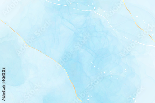 Turquoise and teal blue liquid watercolor background with golden glitter lines Fototapet