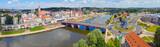 Szeroka panorama miasta Gorzów Wielkopolski, widok od strony Zawarcia na most staromiejski, Spichlerz, wieżę widokową Dominanta