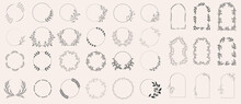 Set Of Laurels Frames Branches. Vintage Laurel Wreaths Collection. Floral Wreaths With Leaves, Berries. Decorative Elements For Design. Doodle Vector Illustration Plants. Isolated On White Background.