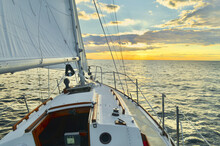 Sailing On A Starboard Tack Looking West On The Long Island Sound.  Port Jefferson, New York.  Copy Space.