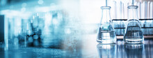 Water In Glass Flask And Test Tube In Soft Information And Blue Light Medical Science Laboratory Banner Background