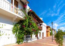 Colombia, Scenic Colorful Streets Of Cartagena In Historic Getsemani District Near Walled City, Ciudad Amurallada, A UNESCO World Heritage Site.