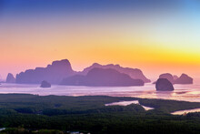 Sunrise At Samet Nangshe Viewpoint The New Unseen Tourism, Phang Nga Bay National Park, Thailand, South East Asia