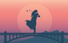 Silhouette Of A Romantic Couple Loving Together