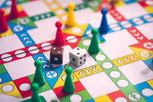 Close Up Dice On Board Game Using For Business Strategy Concept
