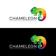 Logo Multicolored Chameleon. Icon, Sign, Trademark With A Bright Reptile And The Word Chameleon On A Black And White Background. Green, Yellow, Blue, Red, Orange Colors. Vector Illustration.