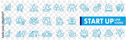 Fotografie, Obraz Business Startup Management Teamwork strategy Employee line  icons set