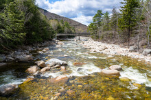 Bridge Over The Lincoln Woods Trail In The White Mountains. Stream Of The Mountain River Pemigewasset With Crystal Clear Water In The Forest.