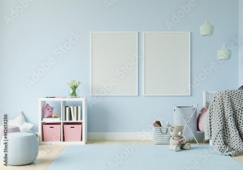 Obraz na plátně Playroom with dolls and picture frames.