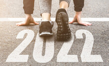 Sneakers Close-up, Finish 2021. Start To New Year 2022 Plans, Goals, Objectives