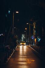 Yellow Taxi On Dark Street