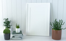 Living Room Wall Photo Frame With Flower Vase, 3D Style