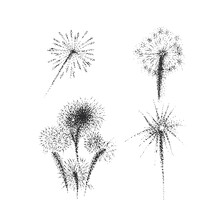 Fireworks Drawings. Hand Drawn Salutes In Vector.