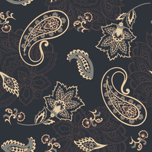 Paisley Floral Oriental Ethnic Pattern. Seamless Vector Ornament. Damask Fabric Patterns