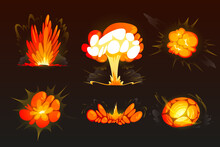 Cartoon Bomb Explosion Set. Clouds, Boom Effect And Smoke Elements For Ui Game Design. Dynamite Danger Explosive Detonation, Atomic Comics Fire Detonators For Mobile Animation Isolated Vector Icons