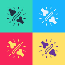 Pop Art Joint Pain, Knee Pain Icon Isolated On Color Background. Orthopedic Medical. Disease Of The Joints And Bones, Arthritis. Vector