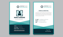 Modern Unique New Official Creative Employee Clean Blue Professional Corporate Id Card Design Template Suitable For All Companies.