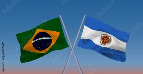 Fotografie, Obraz ブラジルとアルゼンチンの国旗