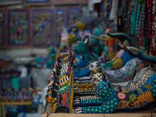 Colorful Alebrije Cats (jaguars) For Sale In A Souvenir Store In Mexico. San Miguel De Allende, Mexico, February 20, 2021.