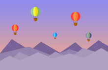 Vector Illustration Of Hot Air Balloons Over Mountains.