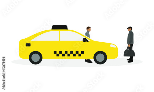 Tela Taxi, taxi driver and male character with bag in hand together on white backgrou