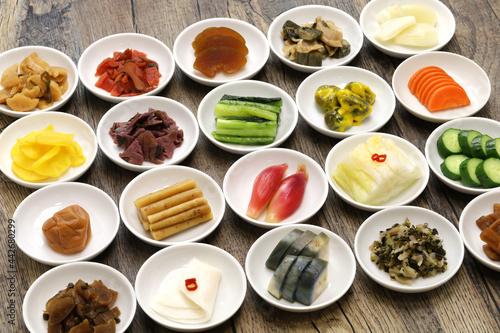 Canvastavla Japanese pickles (Tsukemono) assortment, traditional fermented food